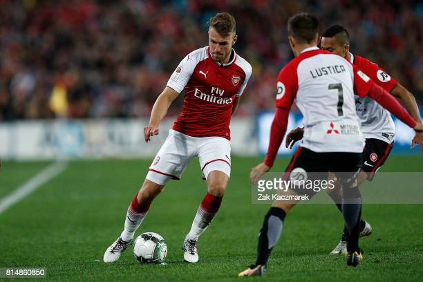 Aaron Ramsey of Arsenal controls the ball during the match between the Western Sydney Wanderers and Arsenal FC at ANZ Stadium on July 15 2017 in...