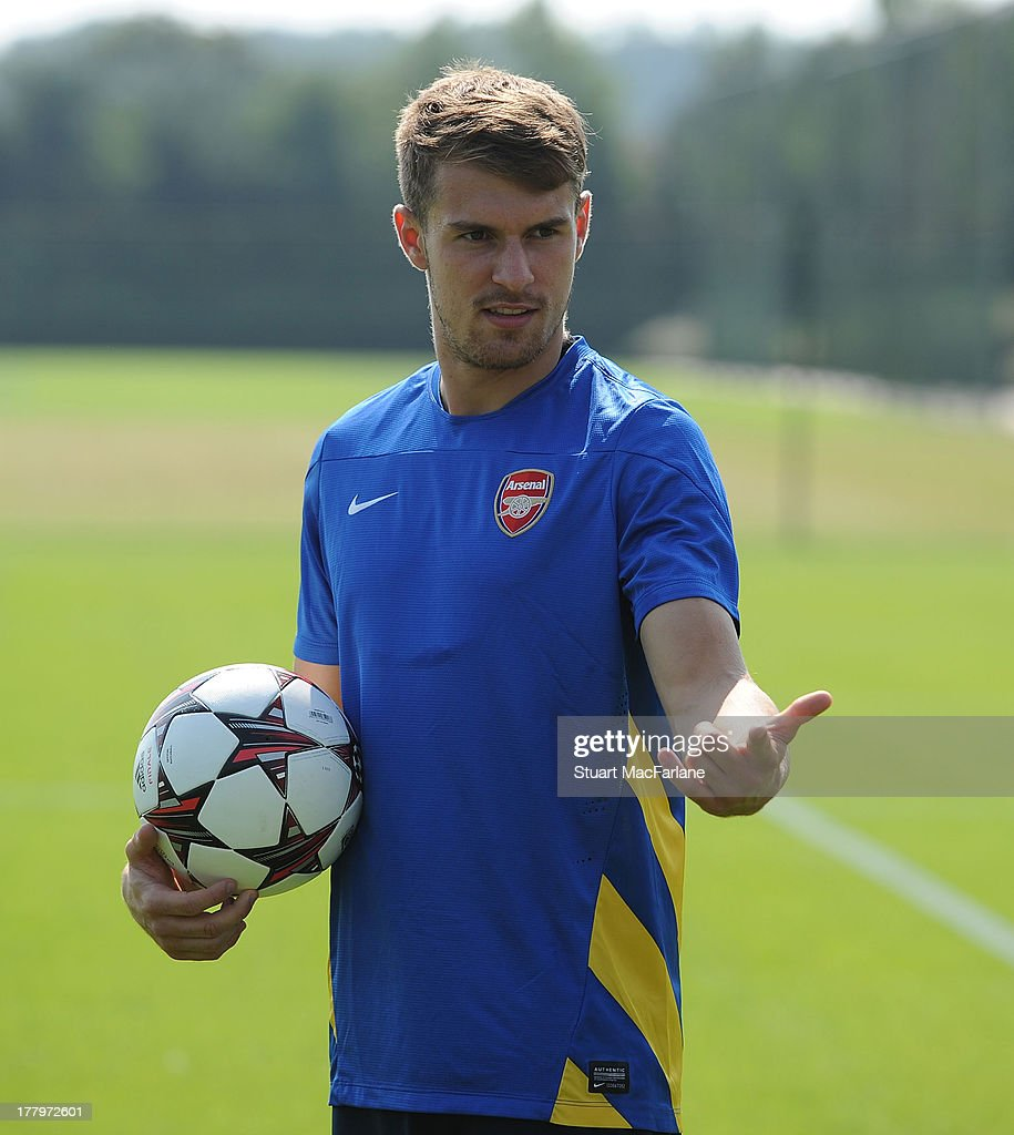 Aaron Ramsey of Arsenal during a training session ahead of their UEFA Champions League Play Off second leg match against Fenerbache at London Colney on August 26, 2013 in St Albans, England.