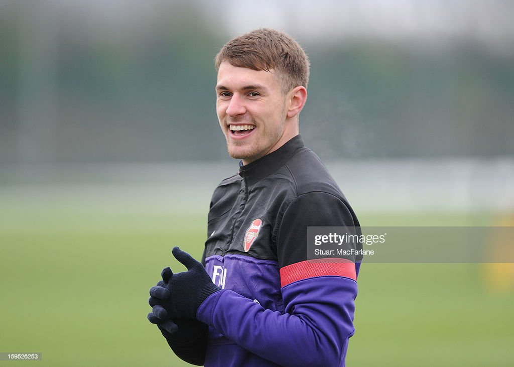 <a gi-track='captionPersonalityLinkClicked' href=/galleries/search?phrase=Aaron+Ramsey&family=editorial&specificpeople=4784114 ng-click='$event.stopPropagation()'>Aaron Ramsey</a> of Arsenal during a training session at London Colney on January 15, 2013 in St Albans, England.