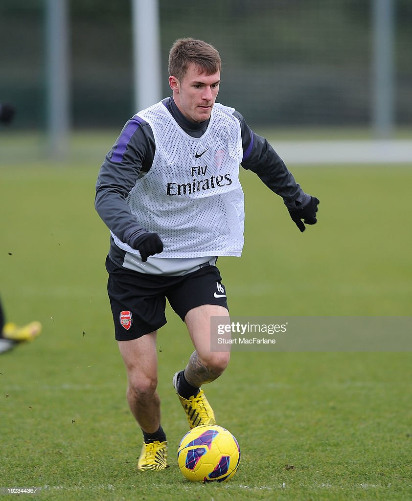 Aaron Ramsey of Arsenal during a training session at London Colney on February 22, 2013 in St Albans, England.