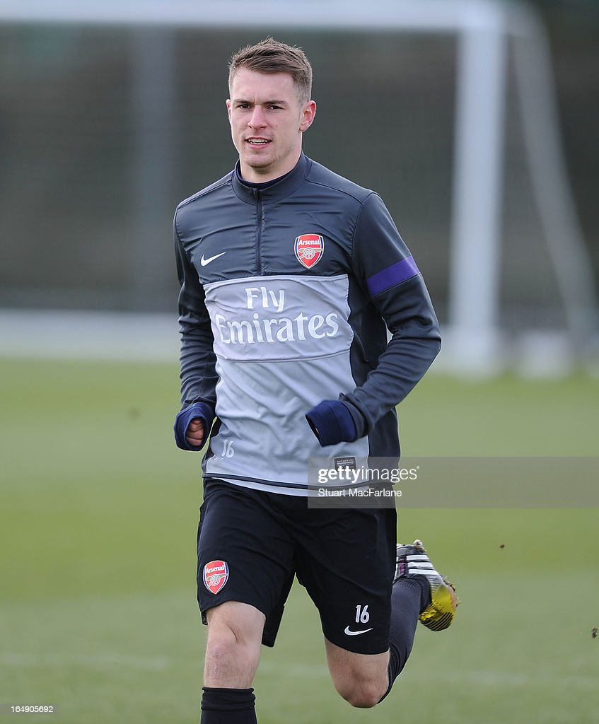 Aaron Ramsey of Arsenal during a training session at London Colney on March 29, 2013 in St Albans, England.