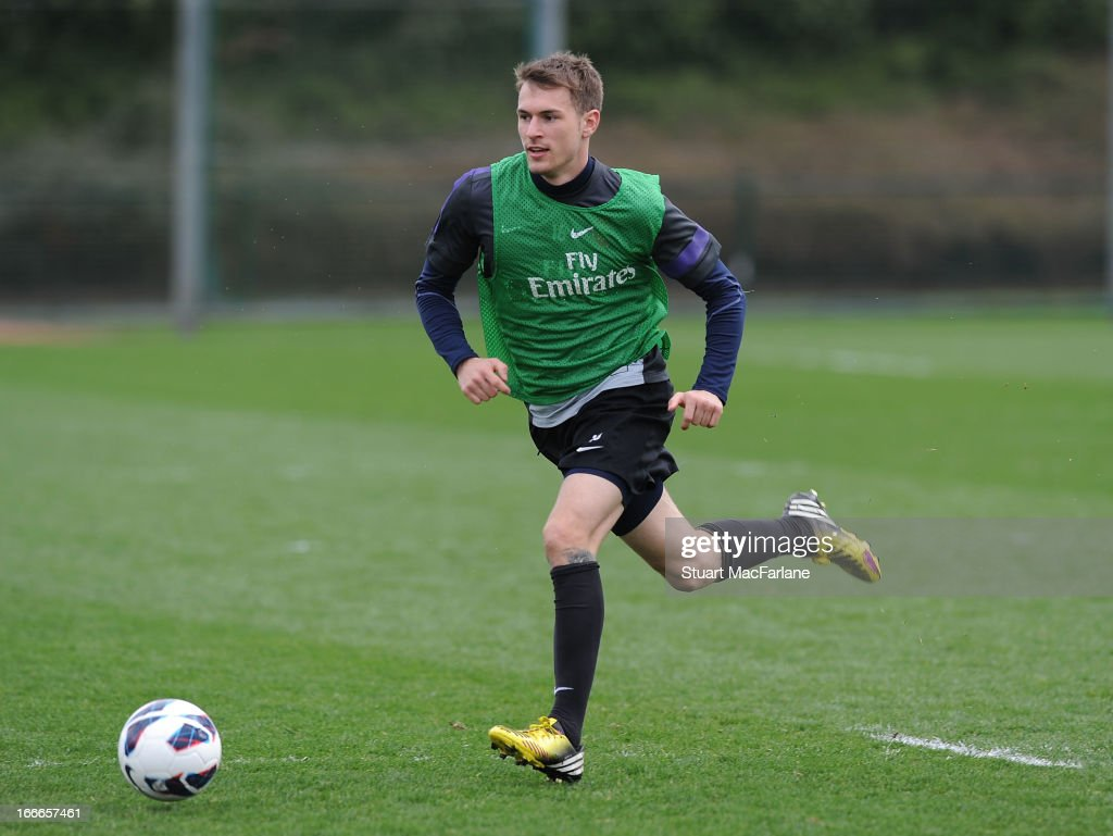Aaron Ramsey of Arsenal during a training session at London Colney on April 15, 2013 in St Albans, England.