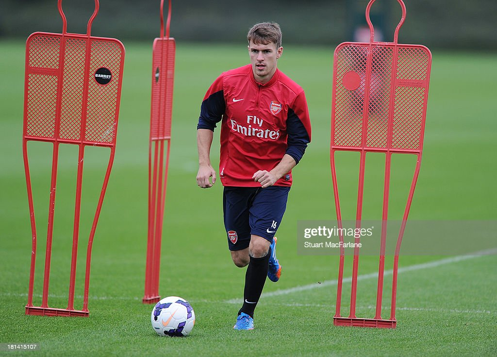 <a gi-track='captionPersonalityLinkClicked' href=/galleries/search?phrase=Aaron+Ramsey+-+Soccer+Player&family=editorial&specificpeople=4784114 ng-click='$event.stopPropagation()'>Aaron Ramsey</a> of Arsenal during a training session at London Colney on September 21, 2013 in St Albans, England.