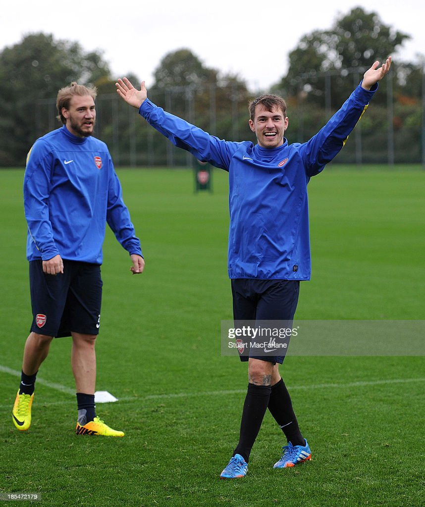 Aaron Ramsey of Arsenal during a training session at London Colney on October 21, 2013 in St Albans, England.