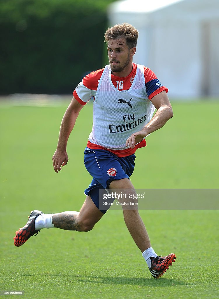 Aaron Ramsey of Arsenal during a training session at London Colney on July 23, 2014 in St Albans, England.