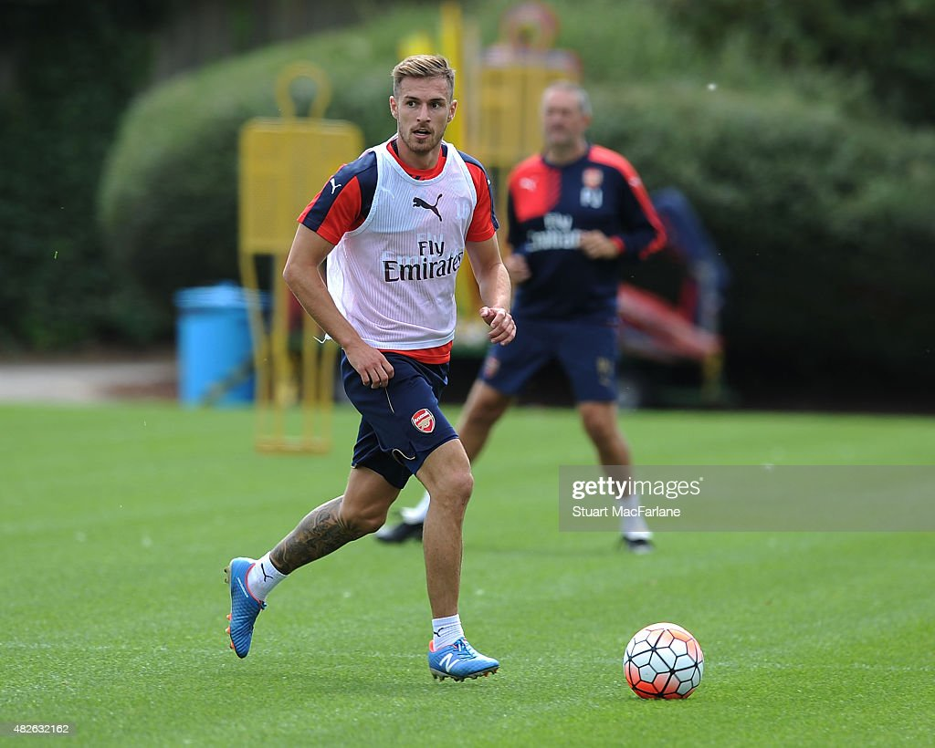 Aaron Ramsey of Arsenal during a training session at London Colney on August 1, 2015 in St Albans, England.