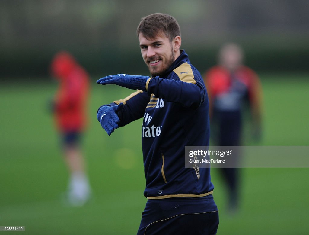 <a gi-track='captionPersonalityLinkClicked' href=/galleries/search?phrase=Aaron+Ramsey&family=editorial&specificpeople=4784114 ng-click='$event.stopPropagation()'>Aaron Ramsey</a> of Arsenal during a training session at London Colney on February 6, 2016 in St Albans, England.