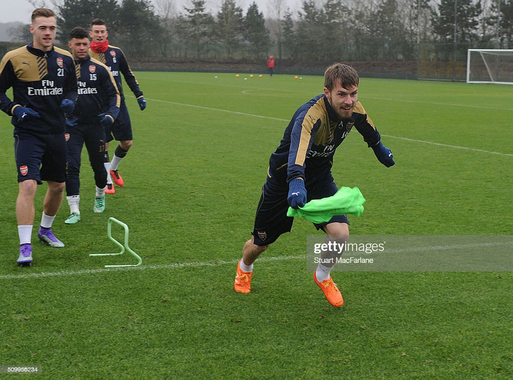 <a gi-track='captionPersonalityLinkClicked' href=/galleries/search?phrase=Aaron+Ramsey&family=editorial&specificpeople=4784114 ng-click='$event.stopPropagation()'>Aaron Ramsey</a> of Arsenal during a training session at London Colney on February 13, 2016 in St Albans, England.