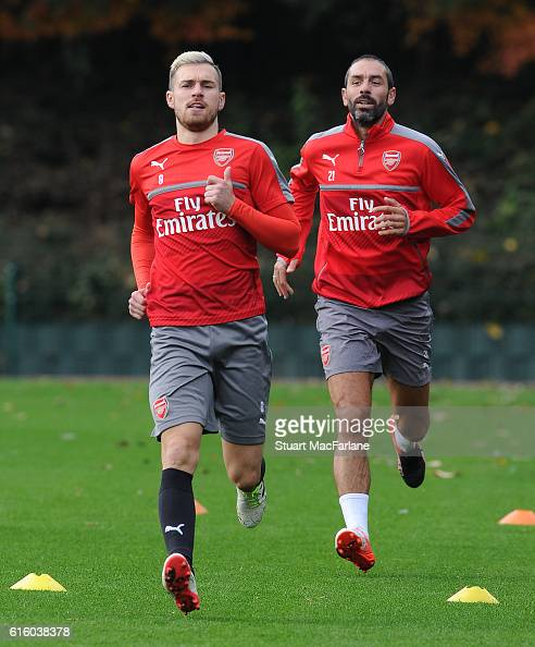 Aaron Ramsey of Arsenal during a training session at London Colney on October 21 2016 in St Albans England