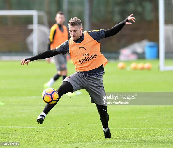 Aaron Ramsey of Arsenal during a training session at London Colney on March 1 2017 in St Albans England