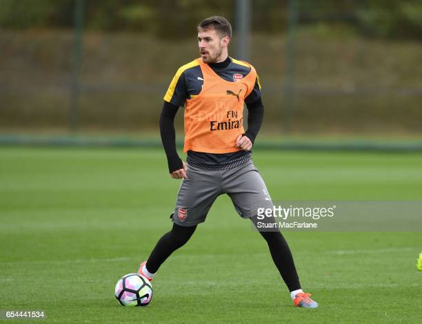 Aaron Ramsey of Arsenal during a training session at London Colney on March 17 2017 in St Albans England