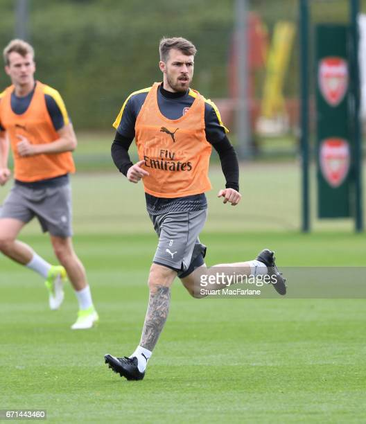 Aaron Ramsey of Arsenal during a training session at London Colney on April 22 2017 in St Albans England
