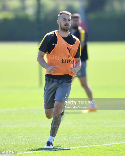 Aaron Ramsey of Arsenal during a training session at London Colney on May 26 2017 in St Albans England