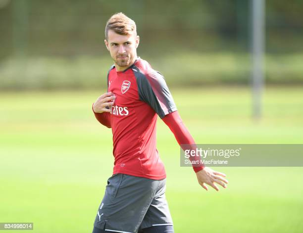 Aaron Ramsey of Arsenal during a training session at London Colney on August 18 2017 in St Albans England