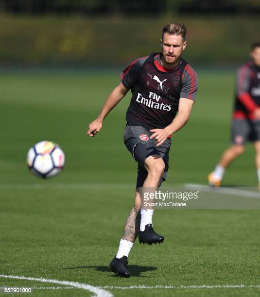 Aaron Ramsey of Arsenal during a training session at London Colney on September 24 2017 in St Albans England