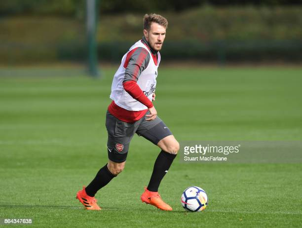 Aaron Ramsey of Arsenal during a training session at London Colney on October 21 2017 in St Albans England