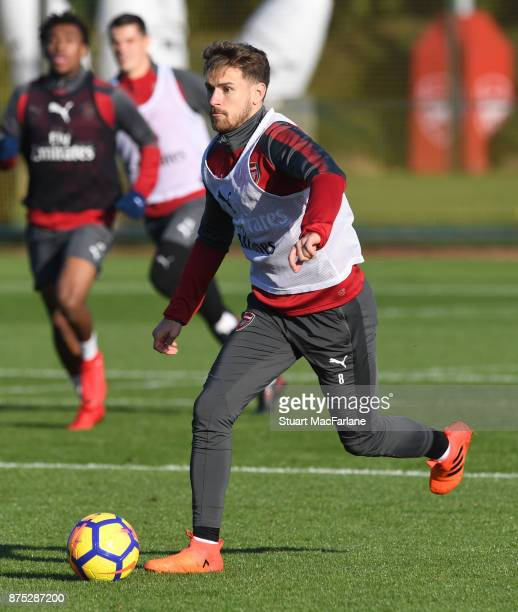 Aaron Ramsey of Arsenal during a training session at London Colney on November 17 2017 in St Albans England