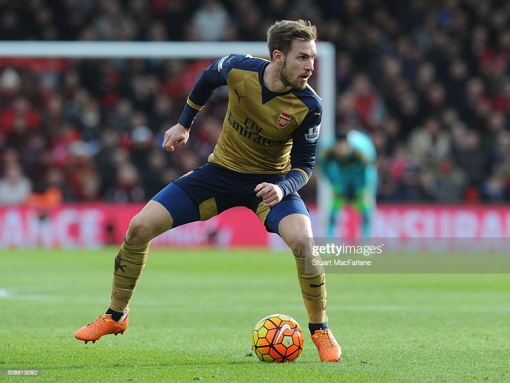 <a gi-track='captionPersonalityLinkClicked' href=/galleries/search?phrase=Aaron+Ramsey&family=editorial&specificpeople=4784114 ng-click='$event.stopPropagation()'>Aaron Ramsey</a> of Arsenal during the Barclays Premier League match between AFC Bournemouth and Arsenal at The Vitality Stadium on February 7, 2016 in Bournemouth, England. (Photo by Stuart MacFarlane/Arsenal FC via Getty Images