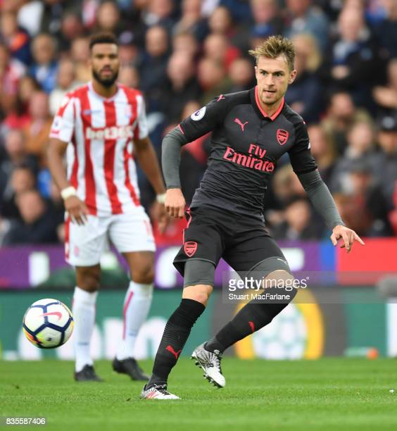 Aaron Ramsey of Arsenal during the Premier League match between Stoke City and Arsenal at Bet365 Stadium on August 19 2017 in Stoke on Trent England