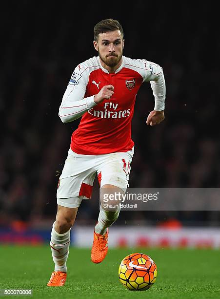 Aaron Ramsey of Arsenal gestures during the Barclays Premier League match between Arsenal and Sunderland at Emirates Stadiumon December 5 2015 in...