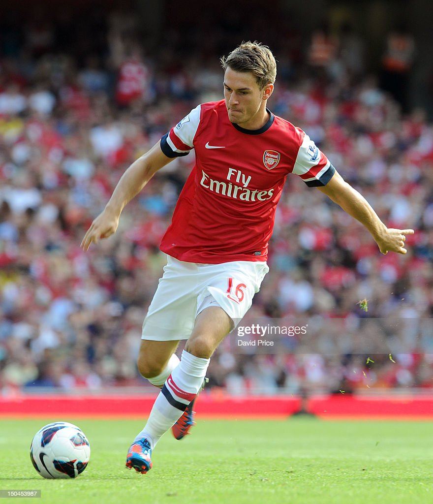 <a gi-track='captionPersonalityLinkClicked' href=/galleries/search?phrase=Aaron+Ramsey&family=editorial&specificpeople=4784114 ng-click='$event.stopPropagation()'>Aaron Ramsey</a> of Arsenal in action during the Barclays Premier League match between Arsenal and Sunderland at Emirates Stadium on August 18, 2012 in London, England.