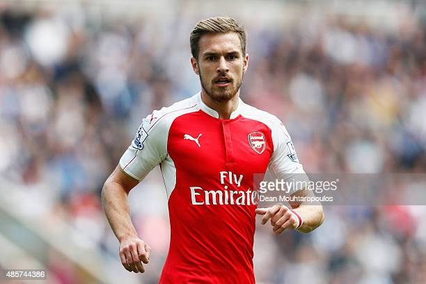 Aaron Ramsey of Arsenal in action during the Barclays Premier League match between Newcastle United and Arsenal at St James' Park on August 29 2015...