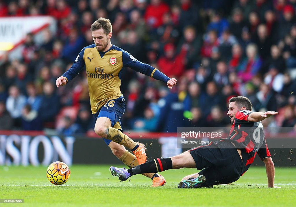 <a gi-track='captionPersonalityLinkClicked' href=/galleries/search?phrase=Aaron+Ramsey&family=editorial&specificpeople=4784114 ng-click='$event.stopPropagation()'>Aaron Ramsey</a> of Arsenal is challenged by Andrew Surman of Bournemouth during the Barclays Premier League match between A.F.C. Bournemouth and Arsenal at the Vitality Stadium on February 7, 2016 in Bournemouth, England.