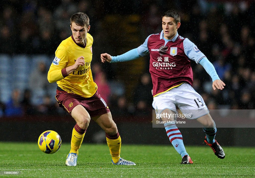 <a gi-track='captionPersonalityLinkClicked' href=/galleries/search?phrase=Aaron+Ramsey+-+Soccer+Player&family=editorial&specificpeople=4784114 ng-click='$event.stopPropagation()'>Aaron Ramsey</a> of Arsenal is challenged by Ashley Westwood of Aston Villa during the Barclays Premier League match between Aston Villa and Arsenal at Villa Park on November 24, 2012 in Birmingham, England.