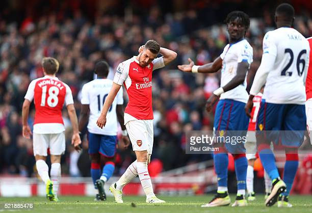 Aaron Ramsey of Arsenal looks dejected following the Barclays Premier League match between Arsenal and Crystal Palace at the Emirates Stadium on...