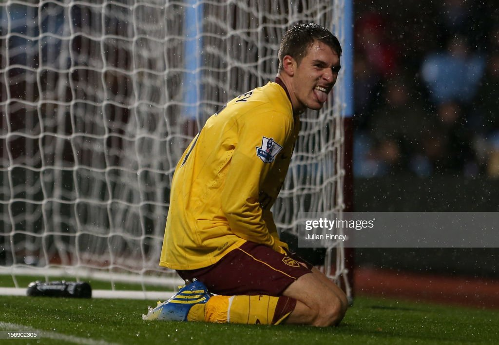 Aaron Ramsey of Arsenal reacts after missing a goal scoring chance during the Barclays Premier League match between Aston Villa and Arsenal at Villa Park on November 24, 2012 in Birmingham, England.
