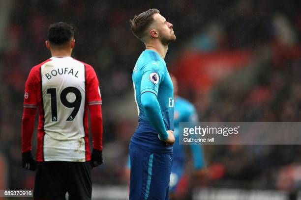 Aaron Ramsey of Arsenal reacts following the Premier League match between Southampton and Arsenal at St Mary's Stadium on December 9 2017 in...