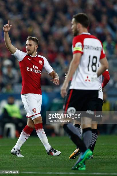 Aaron Ramsey of Arsenal reacts to a referee decision during the match between the Western Sydney Wanderers and Arsenal FC at ANZ Stadium on July 15...