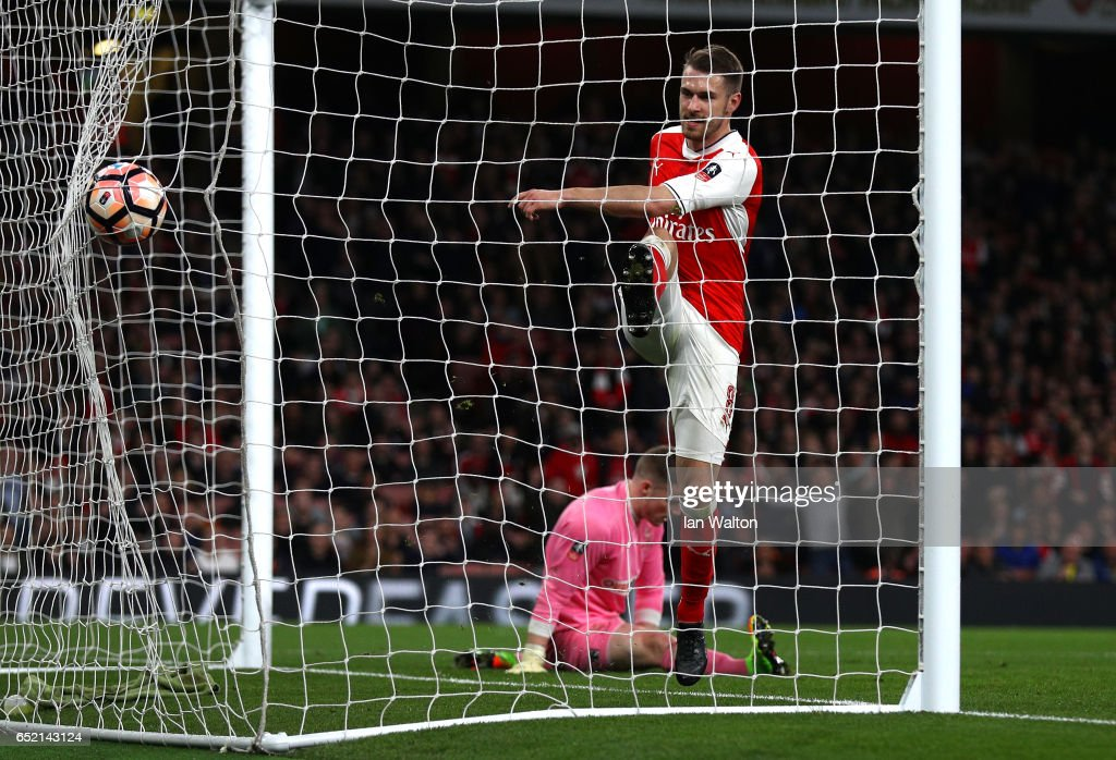 Aaron Ramsey of Arsenal scores his sides fifth goal during The Emirates FA Cup Quarter-Final match between Arsenal and Lincoln City at Emirates Stadium on March 11, 2017 in London, England.