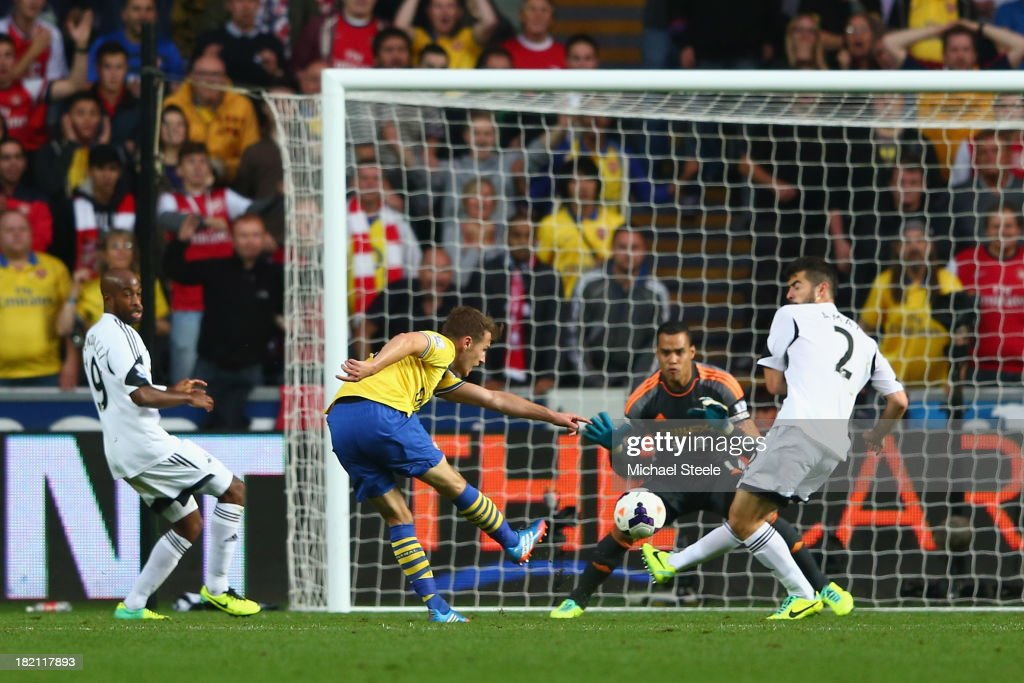 <a gi-track='captionPersonalityLinkClicked' href=/galleries/search?phrase=Aaron+Ramsey&family=editorial&specificpeople=4784114 ng-click='$event.stopPropagation()'>Aaron Ramsey</a> (2L) of Arsenal scores his sides second goal during the Barclays Premier League match between Swansea City and Arsenal at the Liberty Stadium on September 28, 2013 in Swansea, Wales.