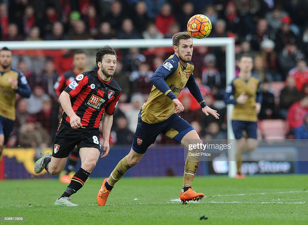 <a gi-track='captionPersonalityLinkClicked' href=/galleries/search?phrase=Aaron+Ramsey&family=editorial&specificpeople=4784114 ng-click='$event.stopPropagation()'>Aaron Ramsey</a> of Arsenal takes on <a gi-track='captionPersonalityLinkClicked' href=/galleries/search?phrase=Harry+Arter&family=editorial&specificpeople=3430393 ng-click='$event.stopPropagation()'>Harry Arter</a> of Bournemouth during the Barclays Premier League match between AFC Bournemouth and Arsenal at The Vitality Stadium, Bournemouth 7th February 2016.