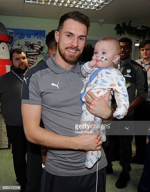 Aaron Ramsey of Arsenal visits the patients on the childrens ward at Whittington Hospital on December 22 2016 in London England