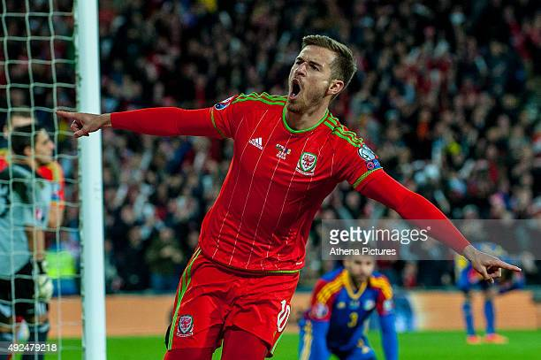 Aaron Ramsey of Wales celebrates his goal during the Wales v Andorra UEFA EURO 2016 Group B Qualifier on October 13 2015 in Cardiff Wales