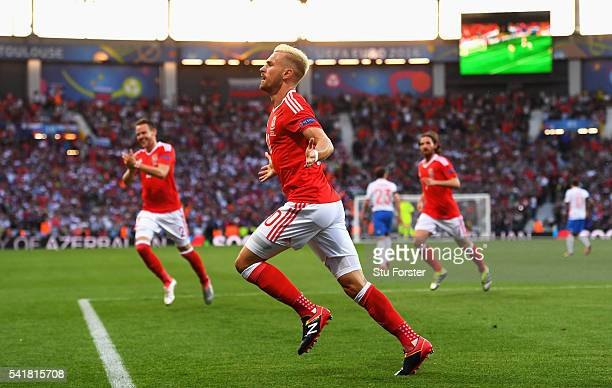 Aaron Ramsey of Wales celebrates scoring his team's first goal during the UEFA EURO 2016 Group B match between Russia and Wales at Stadium Municipal...