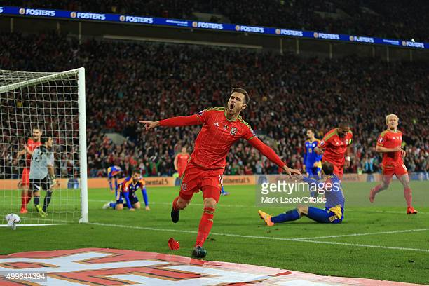 Aaron Ramsey of Wales celebrates scoring the opening goal during the UEFA EURO 2016 Group B Qualifier between Wales and Andorra at Cardiff City...