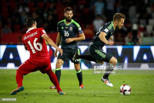 Aaron Ramsey of Wales in action against Luka Milivojevic of Serbia during the FIFA 2018 World Cup Qualifier between Serbia and Wales at stadium Rajko...