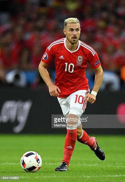 Aaron Ramsey of Wales in action during the UEFA EURO 2016 quarter final match between Wales and Belgium at Stade PierreMauroy on July 1 2016 in Lille...
