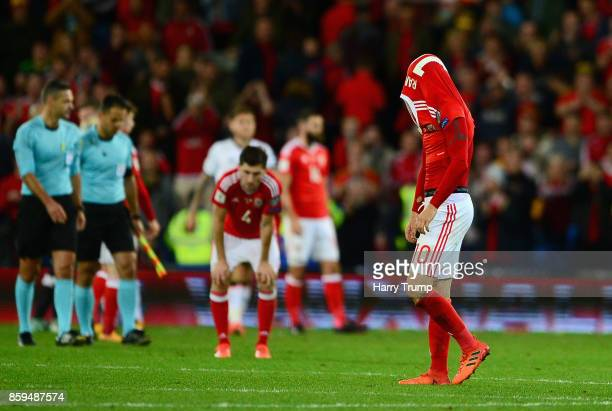 Aaron Ramsey of Wales looks dejected in defeat after the FIFA 2018 World Cup Group D Qualifier between Wales and Republic of Ireland at the Cardiff...