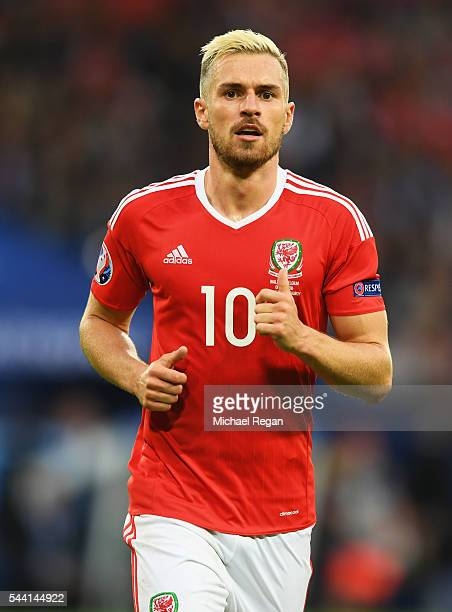 Aaron Ramsey of Wales looks on during the UEFA EURO 2016 quarter final match between Wales and Belgium at Stade PierreMauroy on July 1 2016 in Lille...