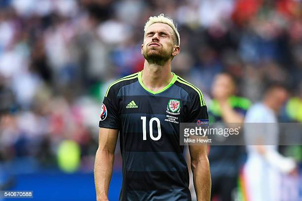 Aaron Ramsey of Wales shows his dejection after his team's 12 defeat in the UEFA EURO 2016 Group B match between England and Wales at Stade...