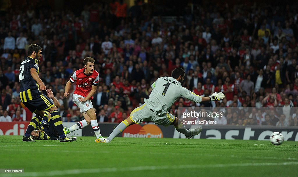 <a gi-track='captionPersonalityLinkClicked' href=/galleries/search?phrase=Aaron+Ramsey+-+Soccer+Player&family=editorial&specificpeople=4784114 ng-click='$event.stopPropagation()'>Aaron Ramsey</a> shoots past Fenerbahce goalkeeper <a gi-track='captionPersonalityLinkClicked' href=/galleries/search?phrase=Volkan+Demirel&family=editorial&specificpeople=2143013 ng-click='$event.stopPropagation()'>Volkan Demirel</a> to score the 1st Arsenal goal during the UEFA Champions League Play Off Second leg match between Arsenal FC and Fenerbahce SK at Emirates Stadium on August 27, 2013 in London, England.
