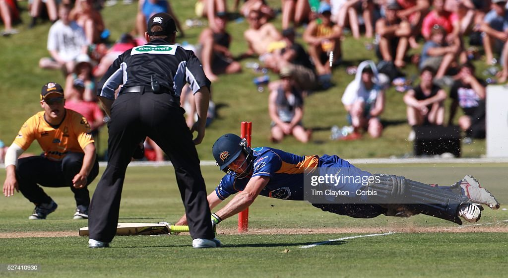 Aaron Redmond makes his ground during the Otago Voltz V Wellington Firebirds HRV Cup match at the Queenstown Events Centre Queenstown New Zealand...