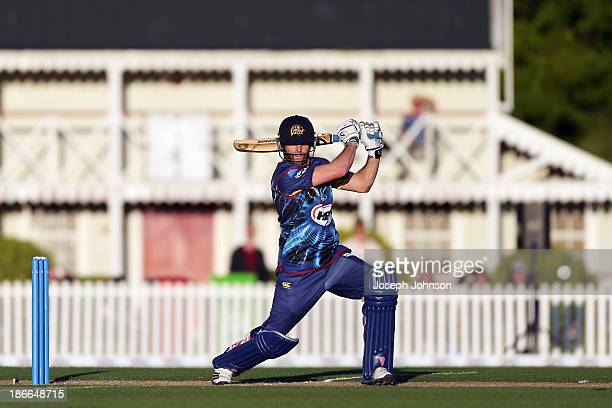 Aaron Redmond of Otago Volts bats during the HRV Twenty20 match between Canterbury Wizards and Otago Volts on November 2 2013 in Christchurch New...