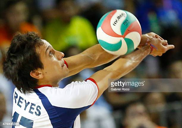 Aaron Reyes Ventura of Chile receives during the Men's Volleyball final match between Argentina and Chile on day eleven of the X South American Games...