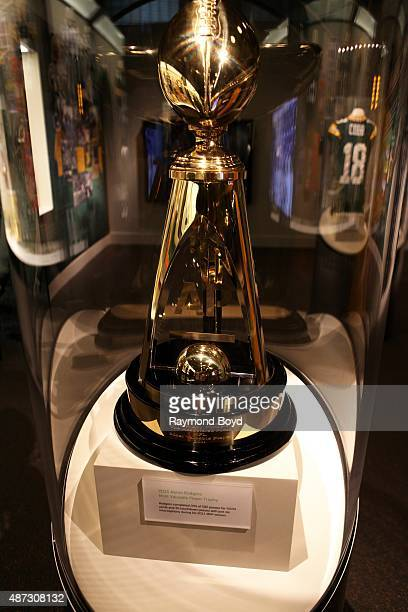Aaron Rodgers' 2011 NFL 'Most Valuable Player' trophy is encased and on display inside the Green Bay Packers 'Hall Of Fame' inside the Lambeau Field...