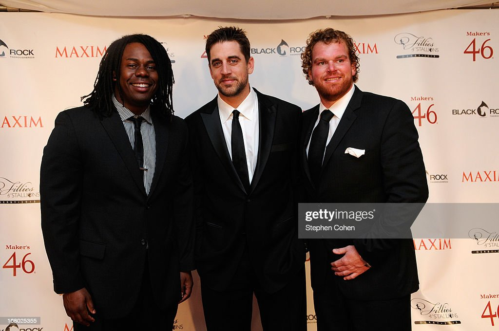 <a gi-track='captionPersonalityLinkClicked' href=/galleries/search?phrase=Aaron+Rodgers+-+American+Football+Quarterback&family=editorial&specificpeople=215257 ng-click='$event.stopPropagation()'>Aaron Rodgers</a> and Eric Wood attend the Maxim And Maker's 46 Fillies & Stallions Hosted By Blackrock at Mellwood Arts & Entertainment Center on May 3, 2013 in Louisville, Kentucky.